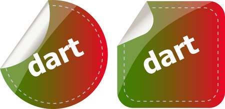dart word stickers web button set, label, icon