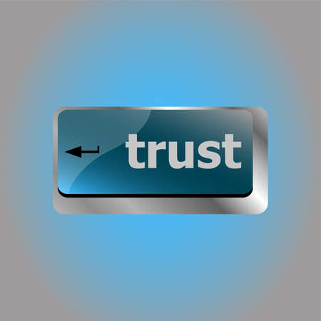 Computer keyboard key with trust button, business concept