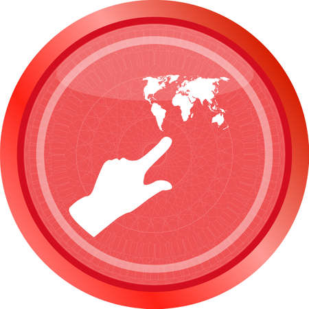 icon with people hand and world map sign. Arrows symbol. Icon for App. Web button