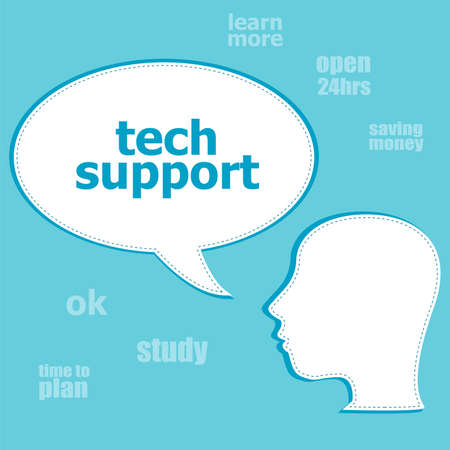 Text Text support. Information concept . Silhouette of a head with speech bubble