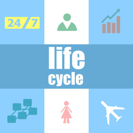 life cycle words. Social concept . Infographic dashboard ui interface template Stock Photo