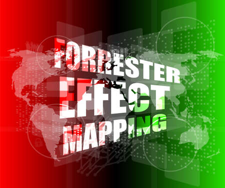 Management concept: forrester effect mapping words on digital screen