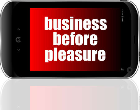 Business concept: smartphone with text business before pleasure on display