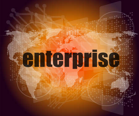 business concept: enterprise words on digital screen, 3d