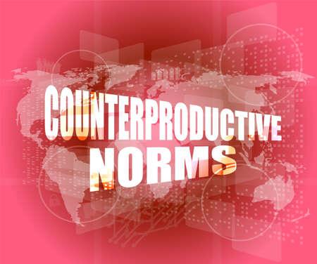Management concept: counterproductive norms words on digital screen Foto de archivo