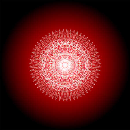 Red abstract line pattern background . Mandala guiiloche spirographic elements for design.