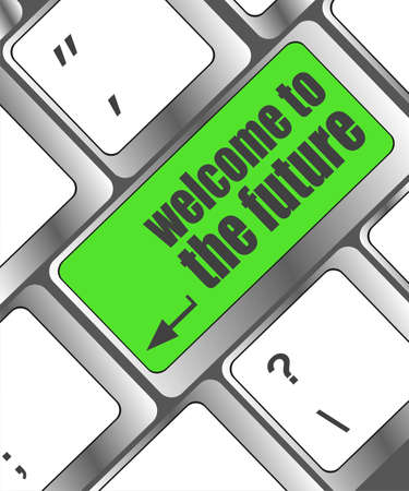 welcome to the future text on laptop keyboard key Stock Photo