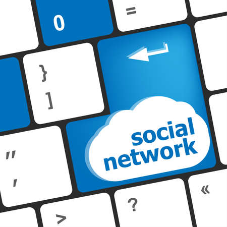 Social network keyboard key button. business concept