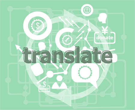 Text Translate. Education concept . Infographics collection icons of web development, user interface testing, mobile apps. Modern thin line icons set.