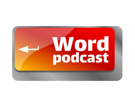 Podcast concept. Button on modern computer keyboard. Word podcast