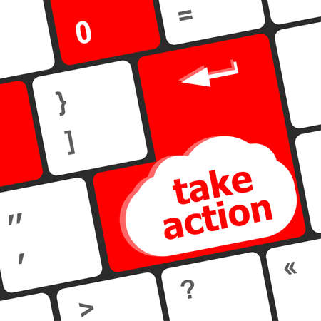 Take action key on a computer keyboard, business concept Stock fotó