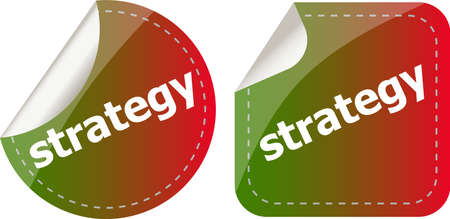 strategy word on stickers button set, label