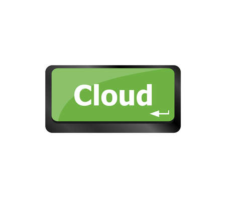 computer keyboard key with cloud computing button