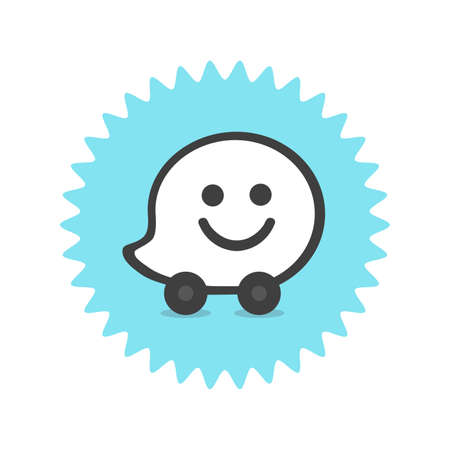 Waze logo. Waze is a real-time automotive traffic social application. Waze app . Kharkiv, Ukraine - June, 2020