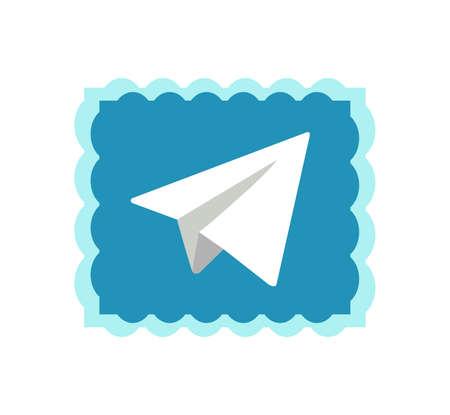 Telegram application icon. Telegram is an online social media network. Social media app . Kharkiv, Ukraine - June , 2020 에디토리얼