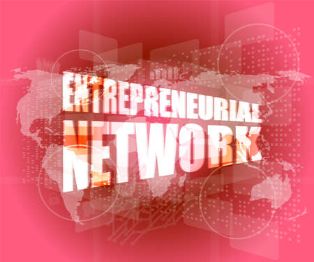 Management concept: entrepreneurial network words on digital screen 免版税图像