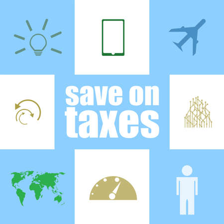 Text Save on taxes. Business concept Infographic Elements. Icon set