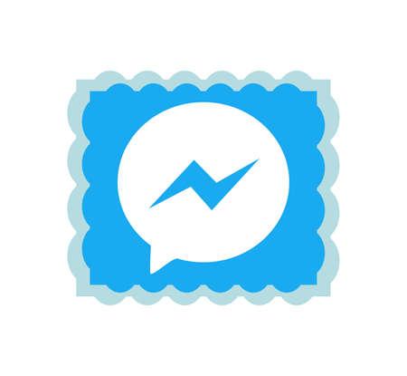 Facebook messenger logo. Faceboook modern social network notification icon. Online Facebook messaging . Kharkiv, Ukraine - June , 2020