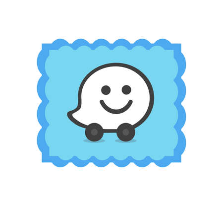 Waze logo. Waze is a real-time automotive traffic social application. Waze app . Kharkiv, Ukraine - June , 2020