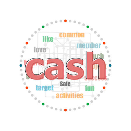 Text Cash. Business concept. Word collage with different association terms