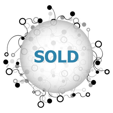 Text Sold. Business concept. Abstract geometric background with lines, circles and dots