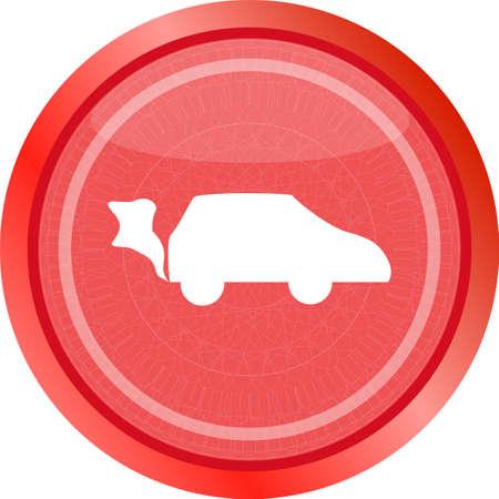 Car icon on the round web button Stock fotó