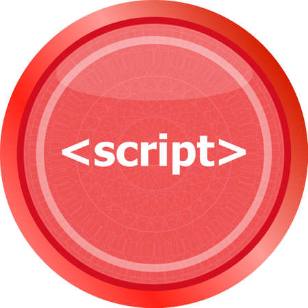 script sign icon. Programming language symbol. Circles buttons