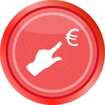 european euro and people hand on web icon isolated on white background