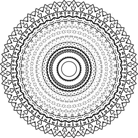 Mandala Circle Pattern Isolated on White. Abstract pattern vector illustration. Retro black and white texture Vectores