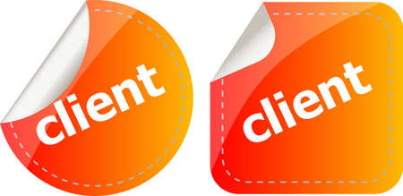 client. stickers set, web icon button isolated on white Stockfoto