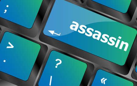 assassin word on computer pc keyboard key