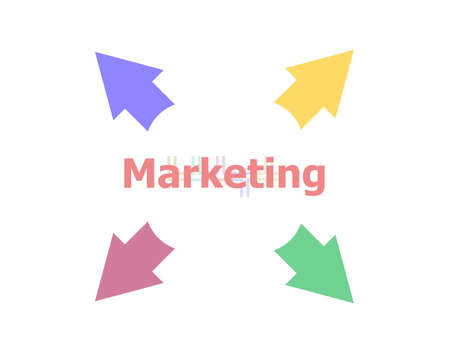 Text Marketing. Business concept . Arrow with word marketing