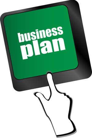 business plan button on computer keyboard key Banco de Imagens