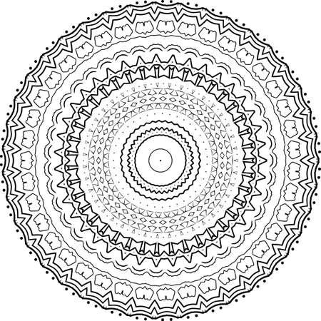 贺卡,案例印刷等曼荼罗。抽象图案。屠妖节图案黑色和白色