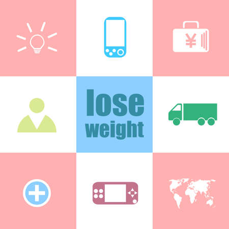 Text lose weight. Social concept . Infographic dashboard ui interface template