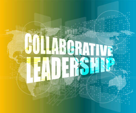 collaborative leadership review on touch screen, media communication on the internet 免版税图像