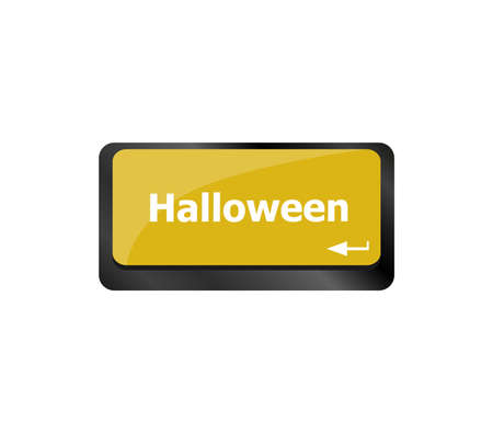 Computer keyboard key with key Halloween button Imagens