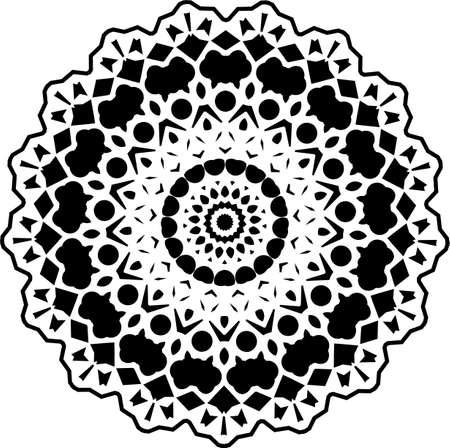 Mandala. Black and White Pattern. Vintage decorative elements. Hand drawn background. Arabic, Islam, Indian. Vector illustration