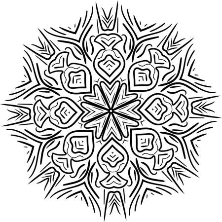 Mandala isolated on white background. Abstract pattern vector illustration. Retro black and white texture. Ornamental diwali pattern.