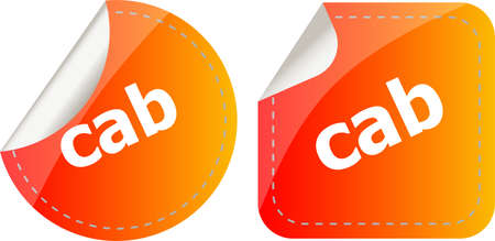 cab word stickers set, web icon button