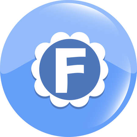 letter F in the web button. Letter F icon symbol design