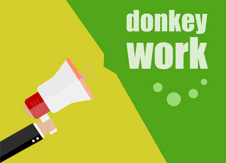 Donkey work. Flat design business concept Digital marketing business man holding megaphone for website and promotion banners.