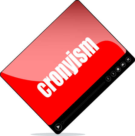 Video player for web with cronyism words Stock Photo
