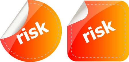 risk word. stickers set, icon button isolated on white