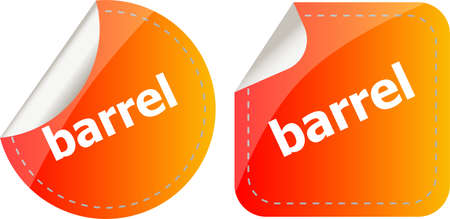 barrel word on stickers button set, business label Stock Photo