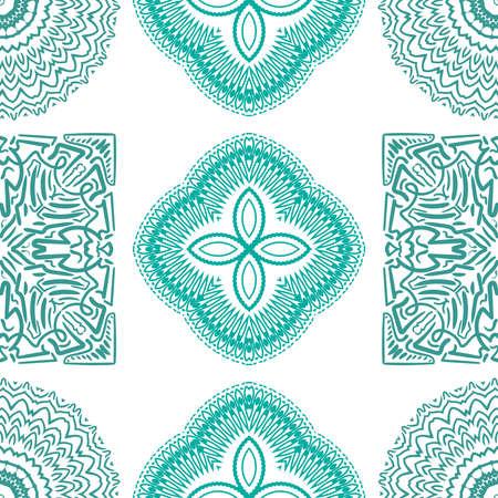 Seamless mandala pattern. Abstract indian diwali floral ornament. Vector illustration