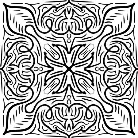 Mandala Black and White Pattern. Vintage decorative elements. Hand drawn background. Arabic, Islam, Indian. Vector illustration
