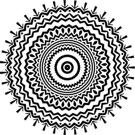 Indian decorative mandala. Black and white texture. Abstract pattern for tattoo and any kind of prints fabric design. Vector illustration Illustration