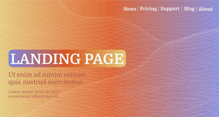Landing page. Modern abstract gradient wavy geometric background. Use for banner, website, event, poster, cover.