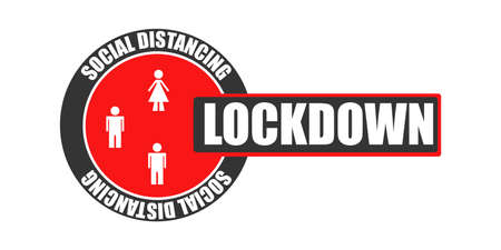 Lockdown Covid-19 concept. Coronavirus pandemic world lockdown for quarantine. Corona virus vector illustration.